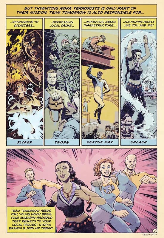 Silver Age - 1960s - style pastiche comic for the Trinity Continuum: Project Aberrant RPG for The Onyx Path Publishing.