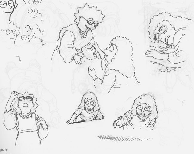 Bartkira character drawings from sketchbook