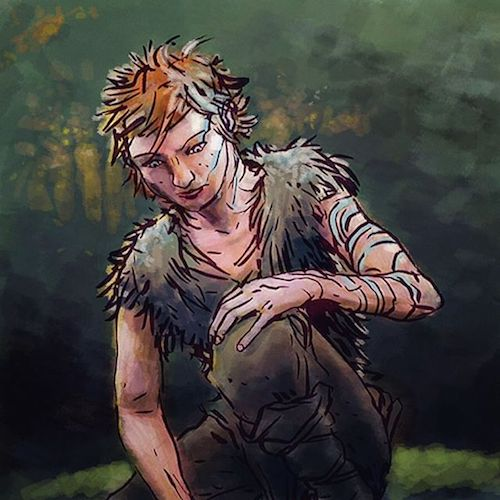Fionn Mac Cumhaill the Irish mythological hero, here being a scrawny young guy out in the backwoods.