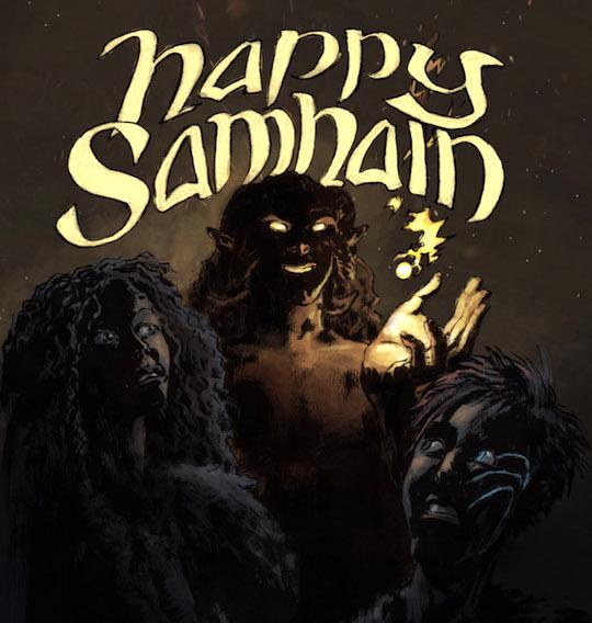 Happy Samhain (okay, alternative, old-skool Halloween) card with Fionn Mac Cumhaill, Sabh & Aillen Mac Midna of the Tuatha de Dannan.