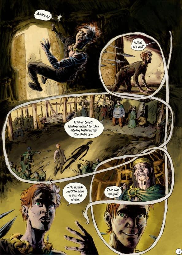Fionn Mac Cumhaill graphic novel lettered page