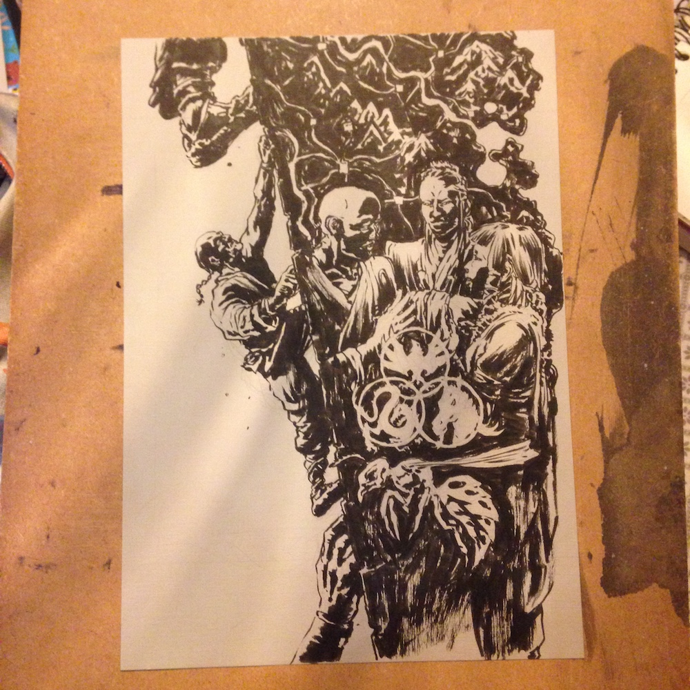 The Samurai Tragedy of Bayushi Castle - Part 5 - photo of linework in brush-pen.