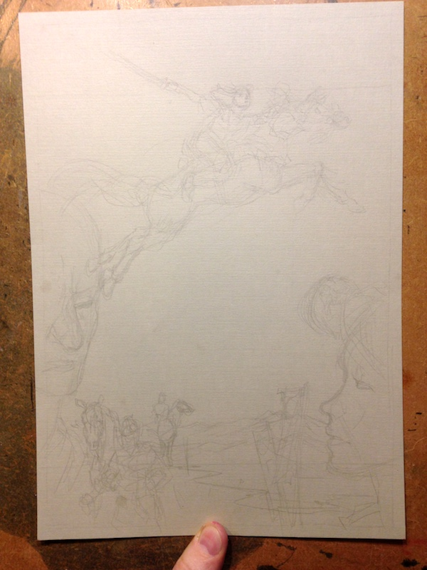 The Samurai Tragedy of Bayushi Castle - part 7 - pencils before inking.
